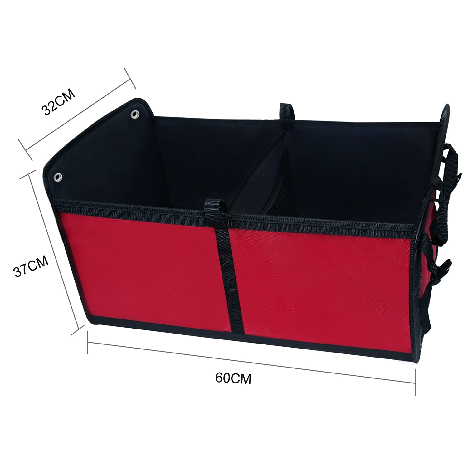 Minivan and Truck SUV Wonderoto Trunk Cargo Organizer Car Storage Container Foldable and Flexible 2 Compartments for Cars Color Red and Black 5559022234