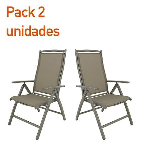 Edenjardi Pack 2 sillones de Exterior de Aluminio Reforzado ...