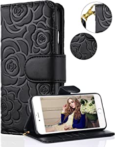 "iphone 7 Plus/8 Plus Wallet Case,FLYEE Premium Leather [Embossed Flower]Flip case Kickstand Closure Magnetic protective Cover With Card Slots And Detachable Wrist Strap For iphone 7/8 Plus 5.5""- Black"