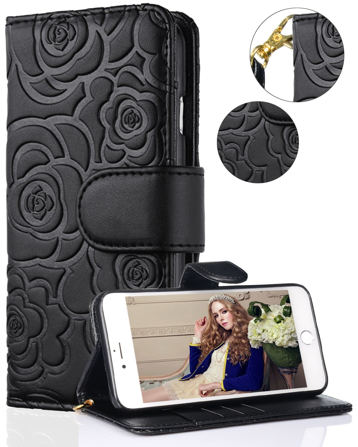 iPhone 8 Plus Case,iPhone 7 Plus Wallet Case,FLYEE Premium Flip Wallet Leather [Emboss Flower] Magnetic Protective Cover with Card Slots for iPhone7 Plus iPhone8 Plus 5.5 Inch yahuacha-Black by FLYEE