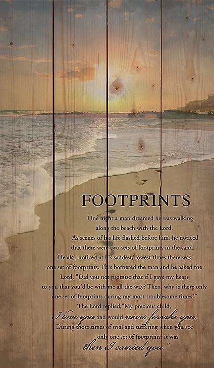 Amazon.com: P Graham Dunn Footprints in The Sand Beach Scene 24 x 14 ...