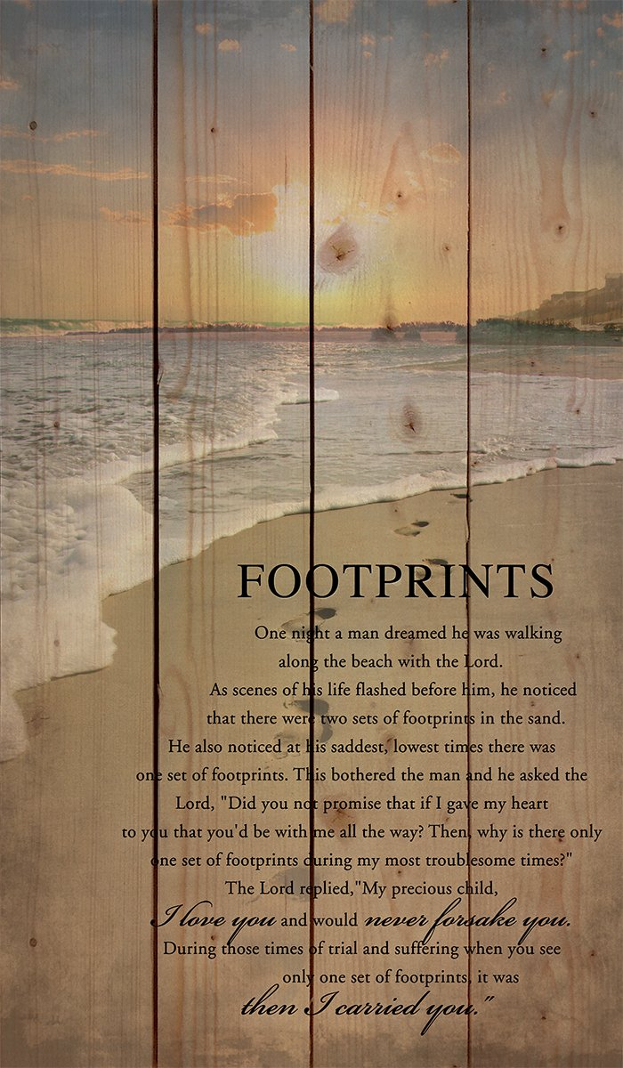 P Graham Dunn Footprints in The Sand Beach Scene 24 x 14 Wood Pallet Design Wall Art Sign Plaque