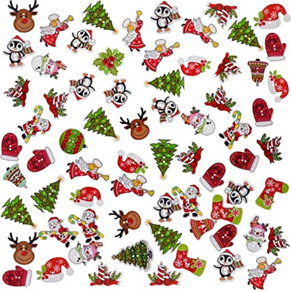 Pack of 30 Snowflake//Tree Xmas Patterns 18mm Wooden Christmas Buttons
