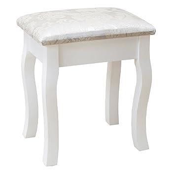 mecor White Dressing Table Stool Padded Cushion Vintage Piano