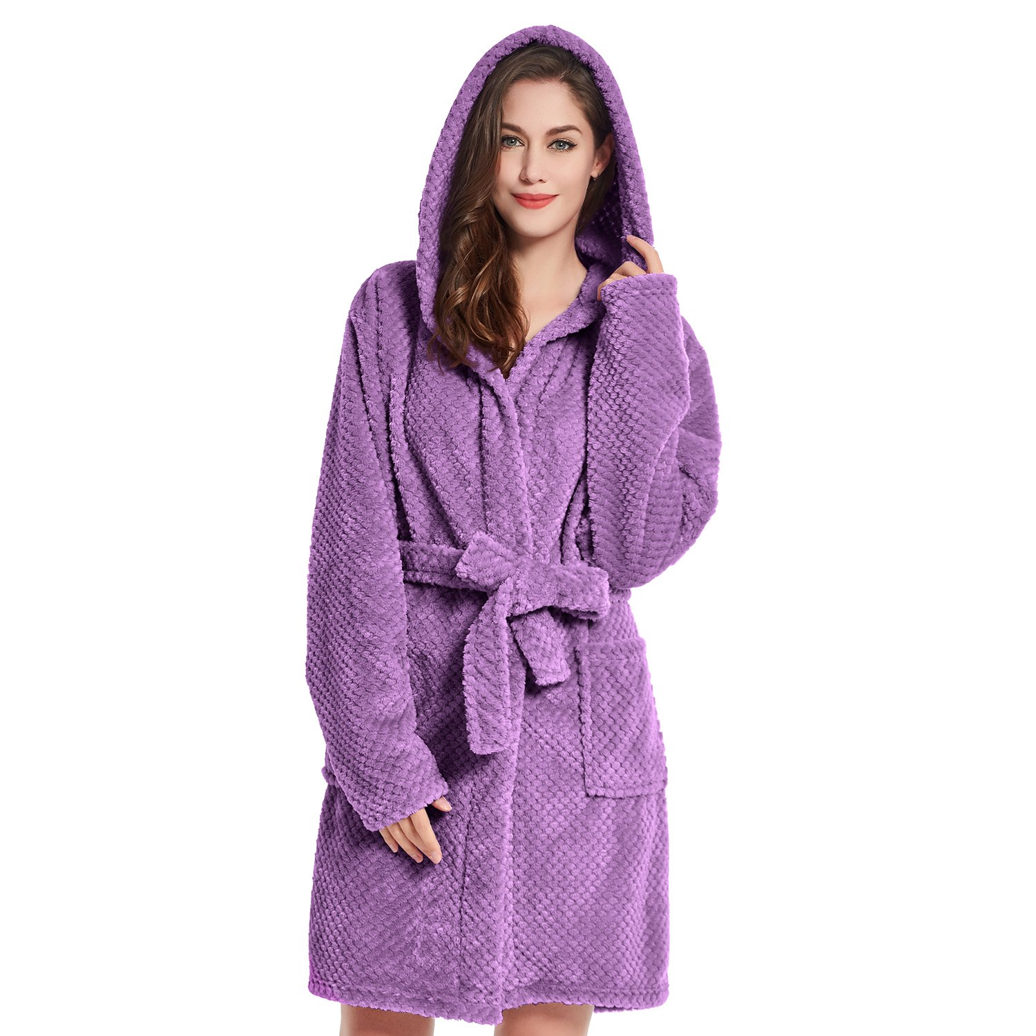 Bathrobe XXXL Short Women Men Unisex Hooded Dressing Gown Microfibre Soft Snug Cosy Fleece Black Sleepyhead shop_decoking