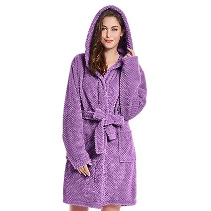 DecoKing Albornoz XS Corto Mujer Hombre Unisex Capucha Bata Microfibra Suave Agradable Ligero Fleece Violeta Morado