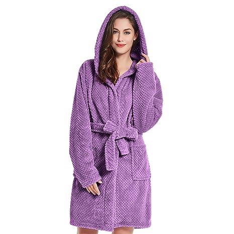 057df3e87b Bathrobe XL Short Women Men Unisex Hooded Dressing Gown Microfibre Soft  Snug Cosy Fleece Brown Chocolate Sleepyhead  Amazon.co.uk  Kitchen   Home