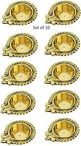 Kitty shops Golden Brass Diya Lamp Engraved Dia Diwali Puja Jyoti Diya Indian - Diya for Pooja Oil Lamp Brass Dia Deepawali Diya/Oil Lamp/Diwali Decoration. Indian Gift Items Set of 10