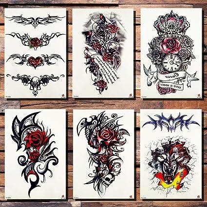 Tatuajes Temporales Muñeca Rosa Flor Pistola Amor Corona Etiqueta ...