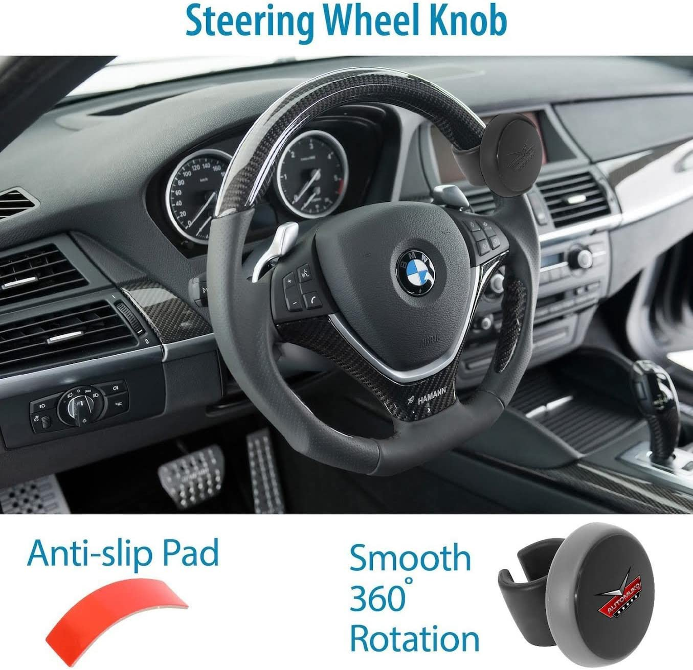 Steering Wheel Spinner, by AutoMuko Silicone Power Handle, steering wheel knob, Easy installation No tools required (Black): Automotive