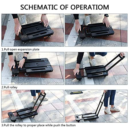 Amazon.com : ASdf Trolley 6-Wheel Folding Shopping Cart Retractable Trolley, Stainless Steel Outdoor Hiking Trolley : Garden & Outdoor