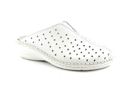 GRUNLAND Dara CE0096 Zapatillas Blancas Mujer pie pie zócalo Agujeros 34: Amazon.es: Zapatos y complementos
