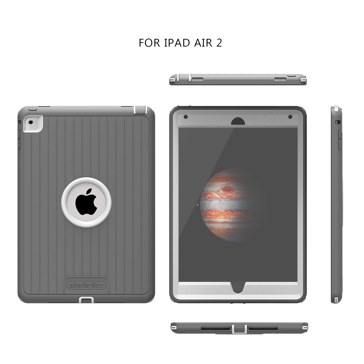 iPad Air 2 Case,eSellerBox Heavy Duty Full-Body Rugged Armor Hybrid Multi-Layer Protective with Kickstand Holder Built-in Screen Protector Defense ...