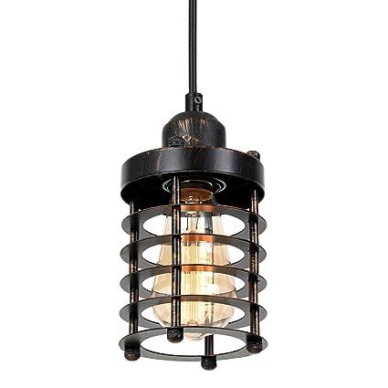 rustic pendant light fixtures glass bottle light pauwer rustic pendant light vintage industrial edison hanging metal mini cage ceiling lamp amazoncom
