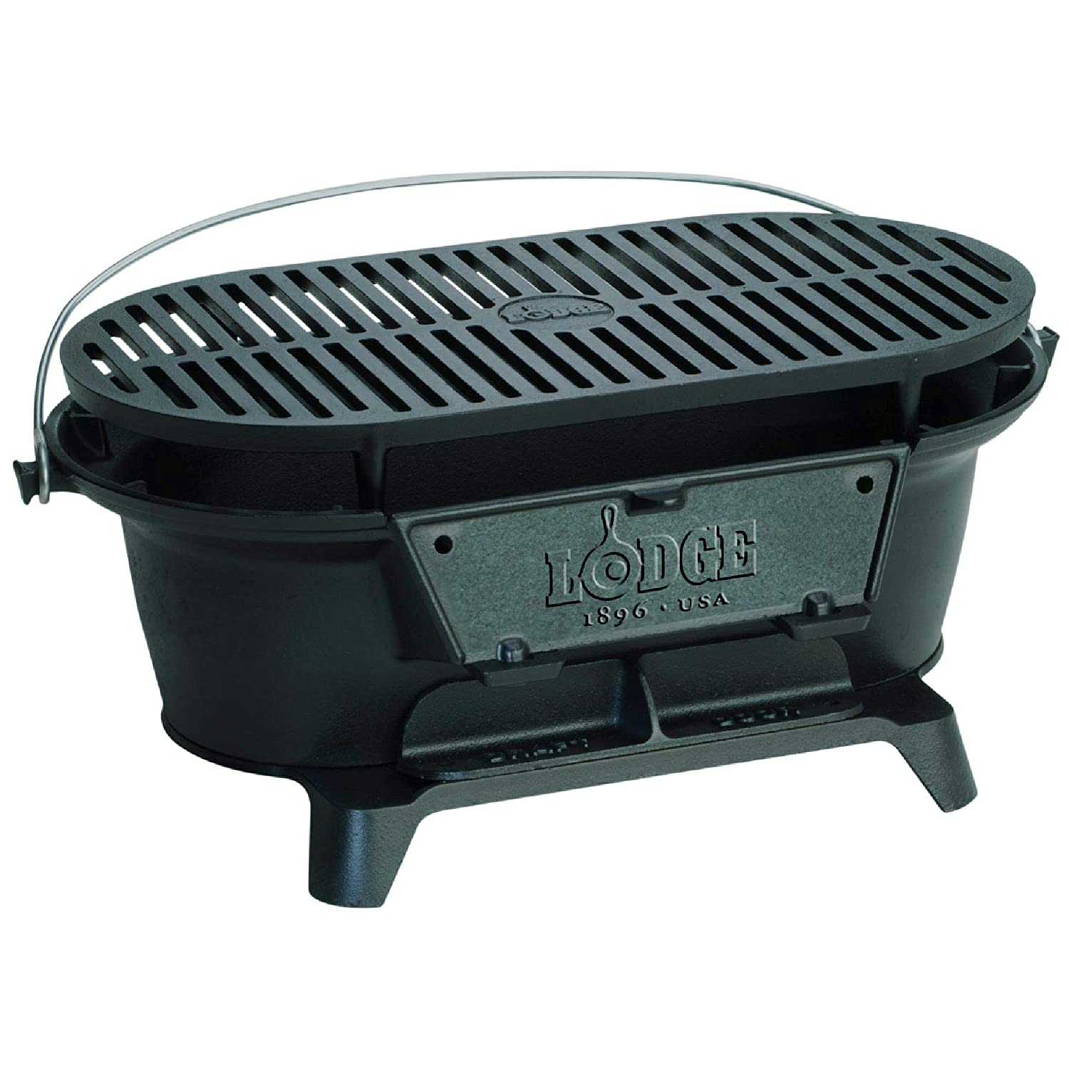 Lodge Cast Iron Sportsman\'s Grill. Large Charcoal Hibachi-Style Grill for  Picnics, Tailgaiting, Camping or Patio. Two Adjustable Heights.