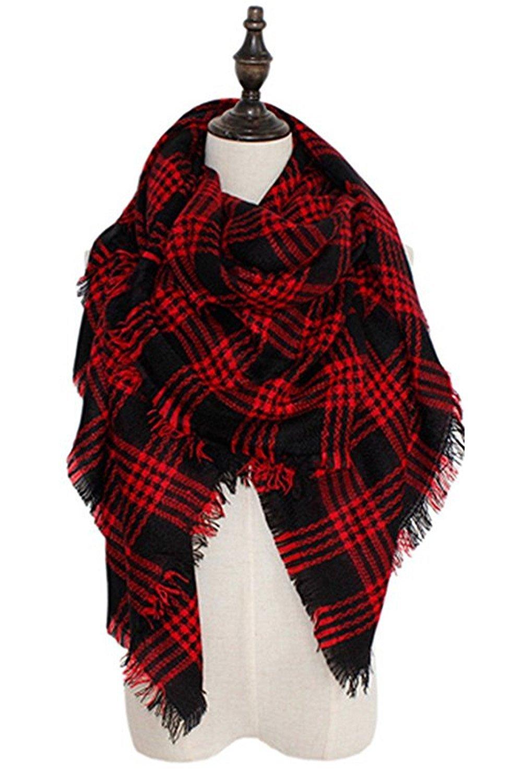 Echo Paths Women's Tassels Soft Plaid Tartan Scarf Winter Large Blanket Wrap Shawl M A35