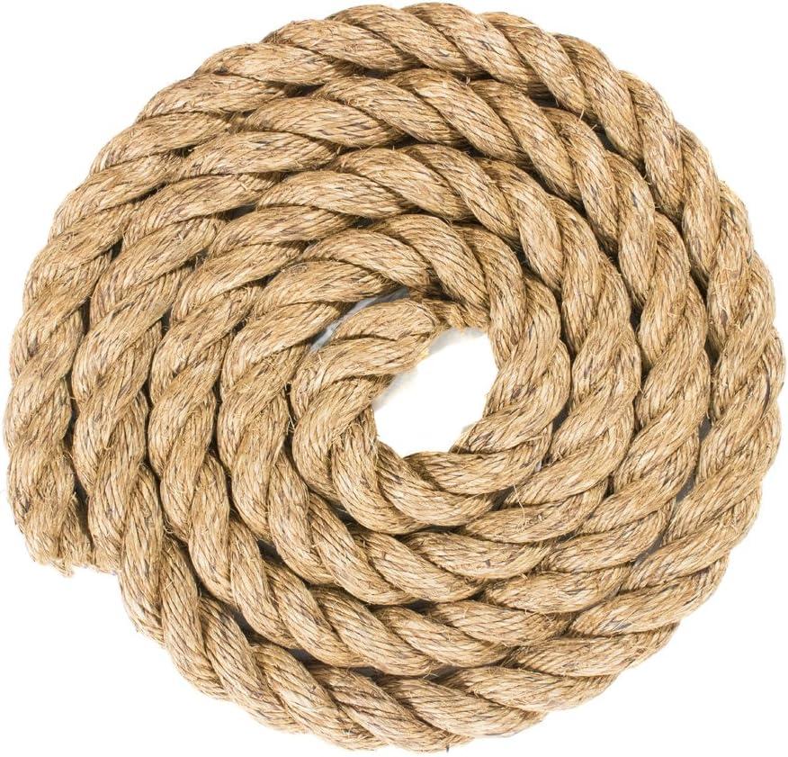 1.25 Inch x 10 Feet Twisted Manila Hemp Rope