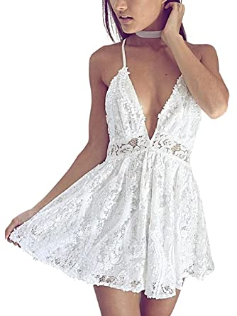 f55f708849d BerryGo Women s Sexy Backless Deep V Neck Sequin Lace Party Romper Jumpsuit  White