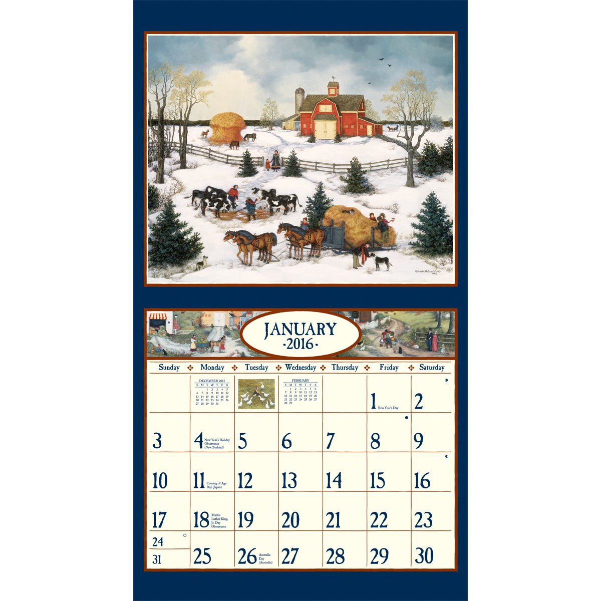 December Calendar Art : Amazon lang wall calendar by linda nelson stocks january