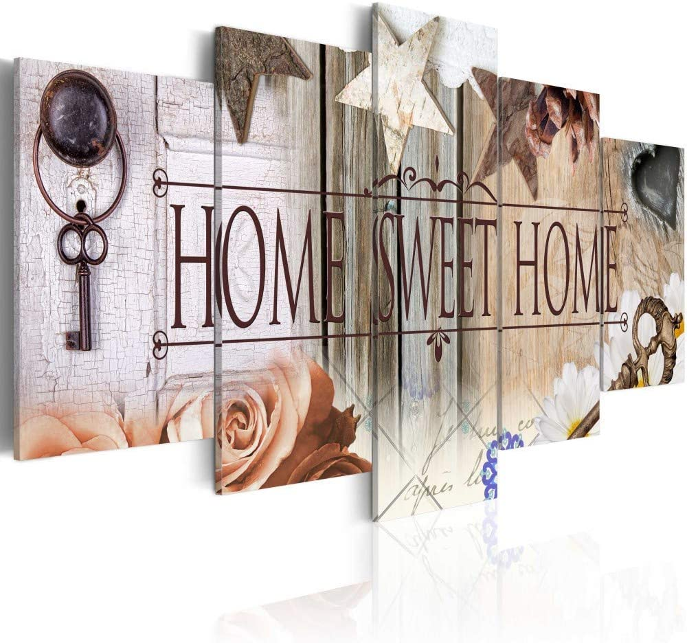 Canvas Art Design - Home Sweet Home Canvas Print Wall Art Home Office Decoration 5 Panels (A, Over Size 60''x30'')