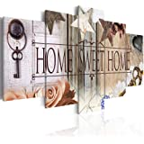 Canvas Art Design - Home Sweet Home Painting Rustic Vintage Canvas Print Abstract Wall Art Home Office Decor 5 Panels (A…