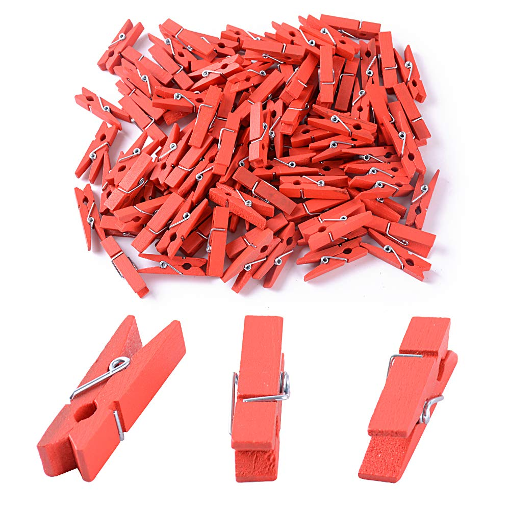 BUONDAC 100pcs Christmas Mini Red Wooden Pegs Mini Wooden Clothespins Photo Clips for Cloth Paper Art Craft DIY Clip (L3.5 × W0.9 × H0.7 cm)