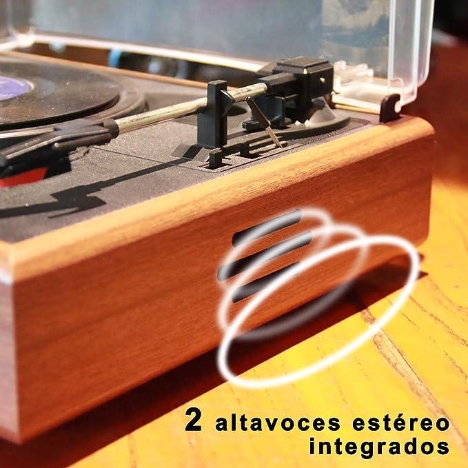 TAKNI Retro Tocadiscos Giradiscos de 3 Velocidades Salidas RCA con Altavoces Estéreo, Madera Natural Bluetooth Record Player