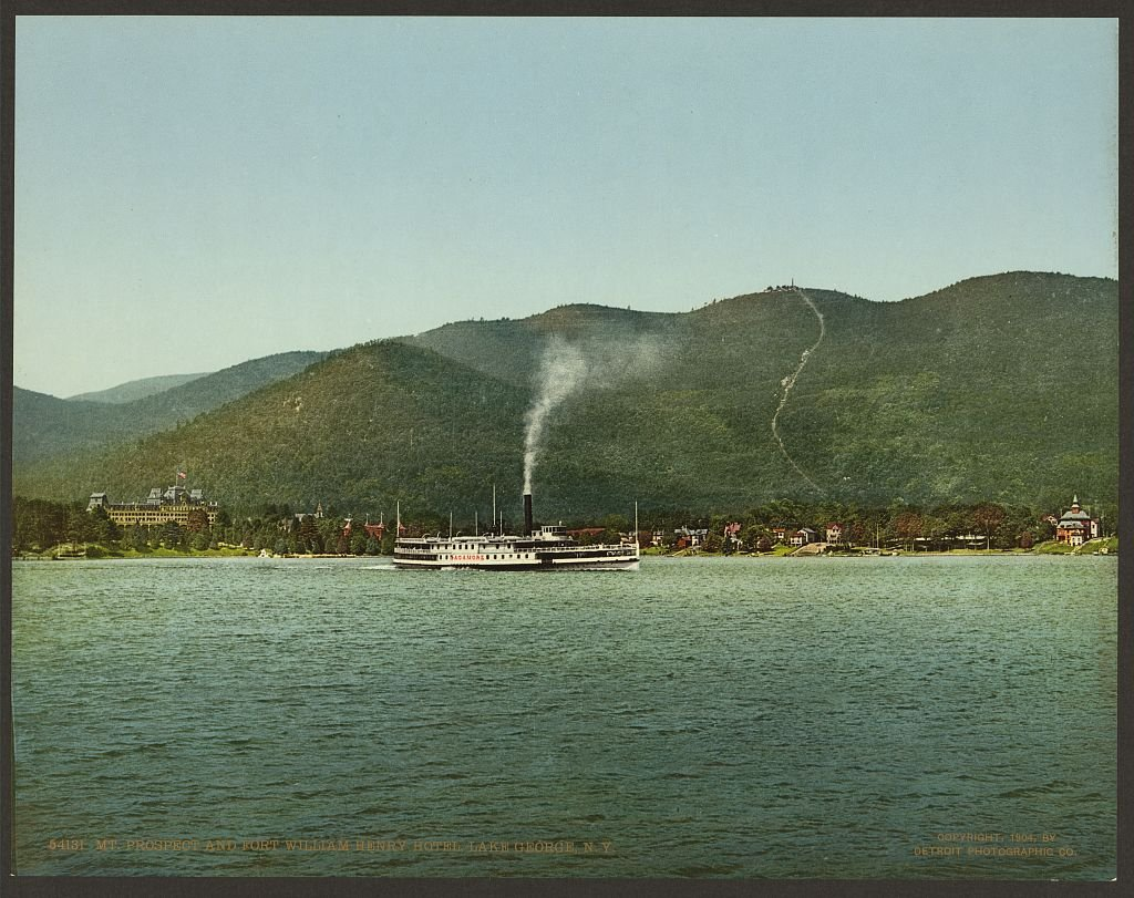Vintography 11 x 8 Antique Photochrome Image of: c. 1890-1906 Mt. Prospect and Fort William Henry Hotel, Lake George, N.Y. Professionally Reprinted c707
