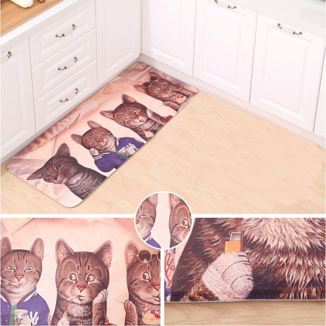 ZSZBACE Non Skid Cuisine Plancher Tapis Couloir Tapis Confort Tapis Porte dentr/ée Tapis Absorbant Cat 20  X 47 Cat and Home