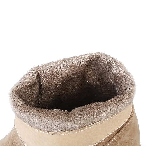 Heheja Mujer Invierno Calentar Forrado Zapatos Plano Botines Antideslizante Nieve Botas Beige Asia 40 (25cm): Amazon.es: Zapatos y complementos