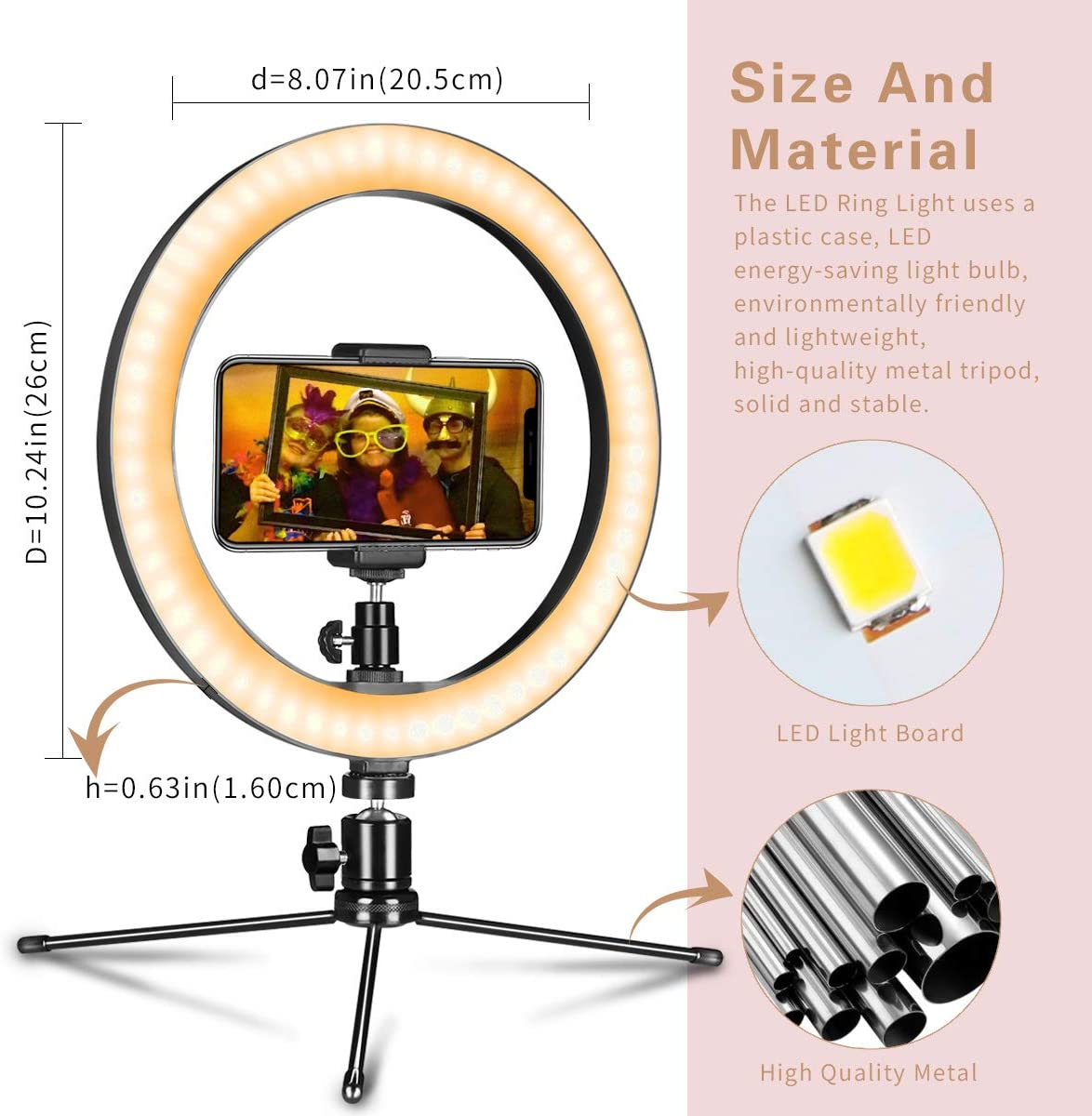 """LED Ring Light 10"""" with Tripod Stand"""
