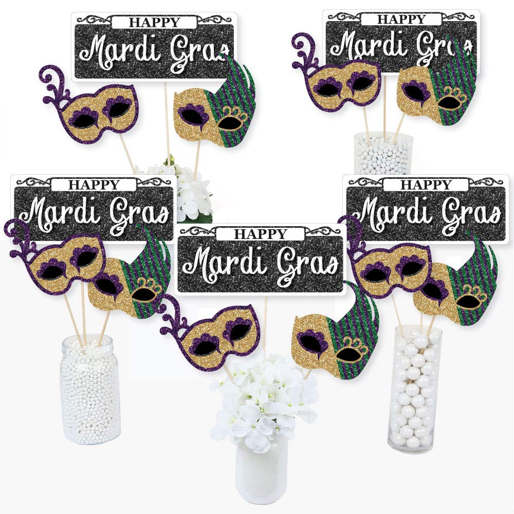 Mardi Gras - Masquerade Party Centerpiece Sticks - Table Toppers - Set of 15