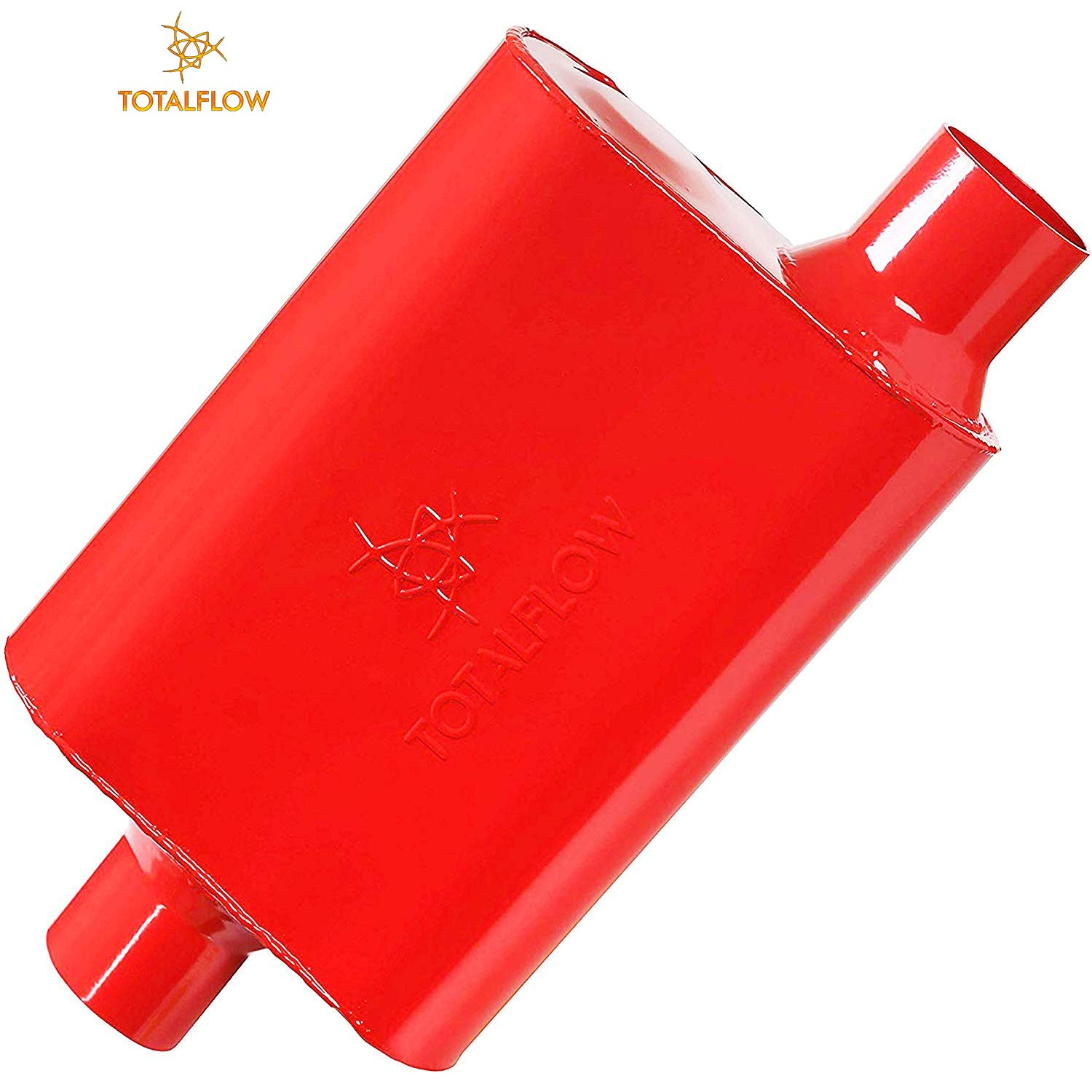 TOTALFLOW Red 15042 Two-Chamber Universal Muffler 3' Center in / 3' Offset Out