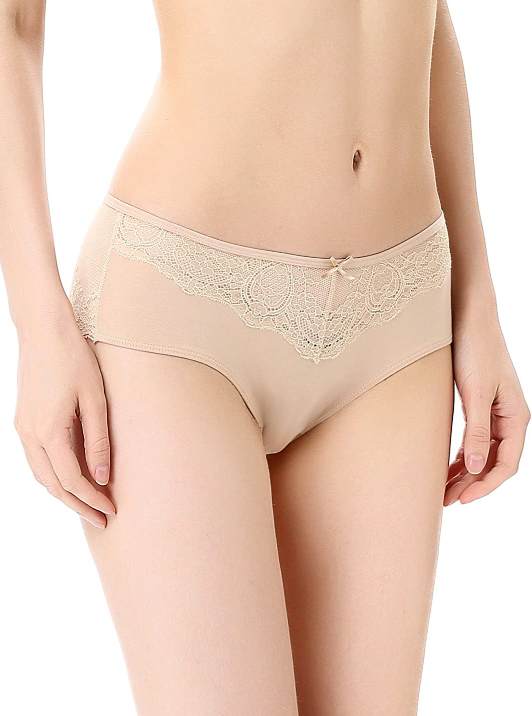 LIQQY Womens 3 Pack Cotton Invisible Lace Coverage Hipster Brief Panty Underwear
