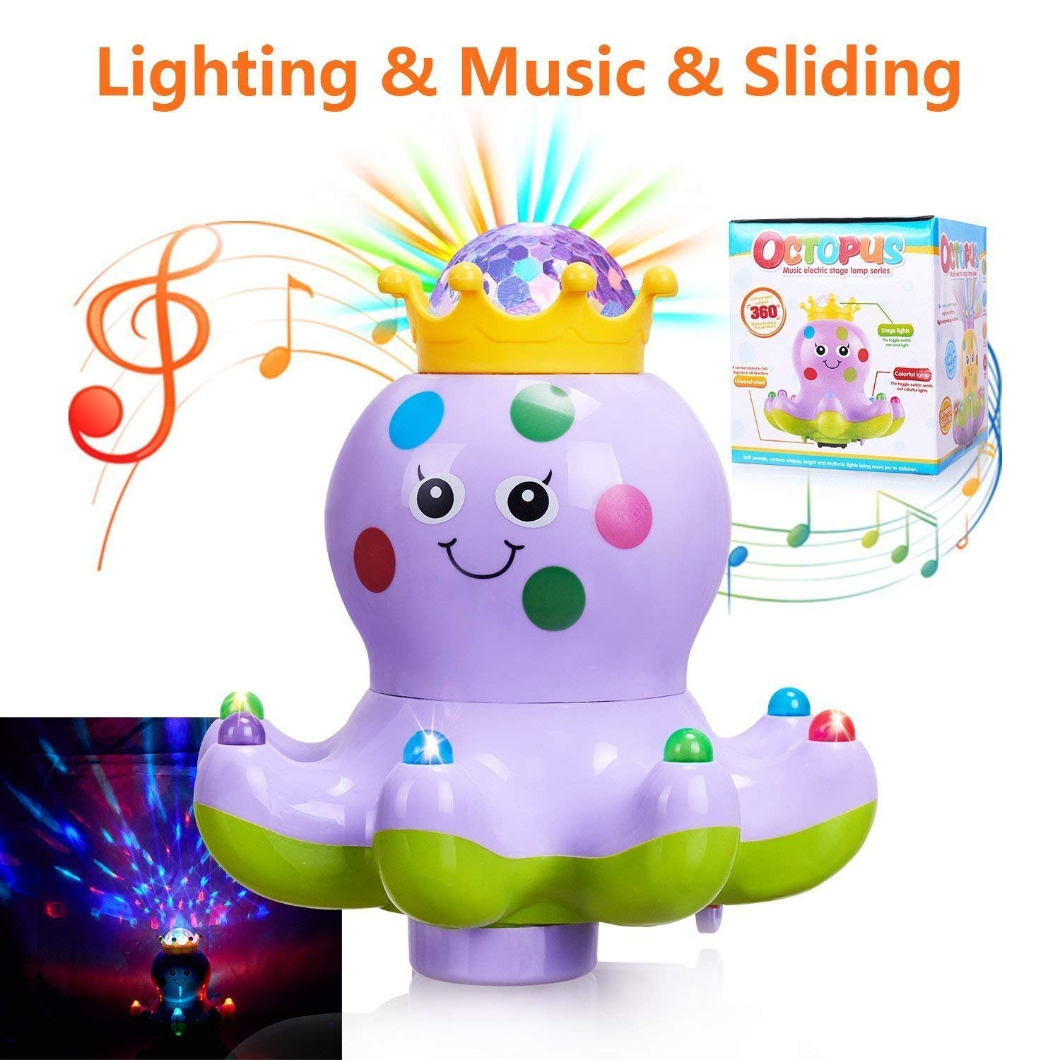Baby Toys Musical Lighting Walking Octopus Toys Lights Action Kids Music Toys for Girls and Boys Kids or Toddlers---Purple Marsjoy
