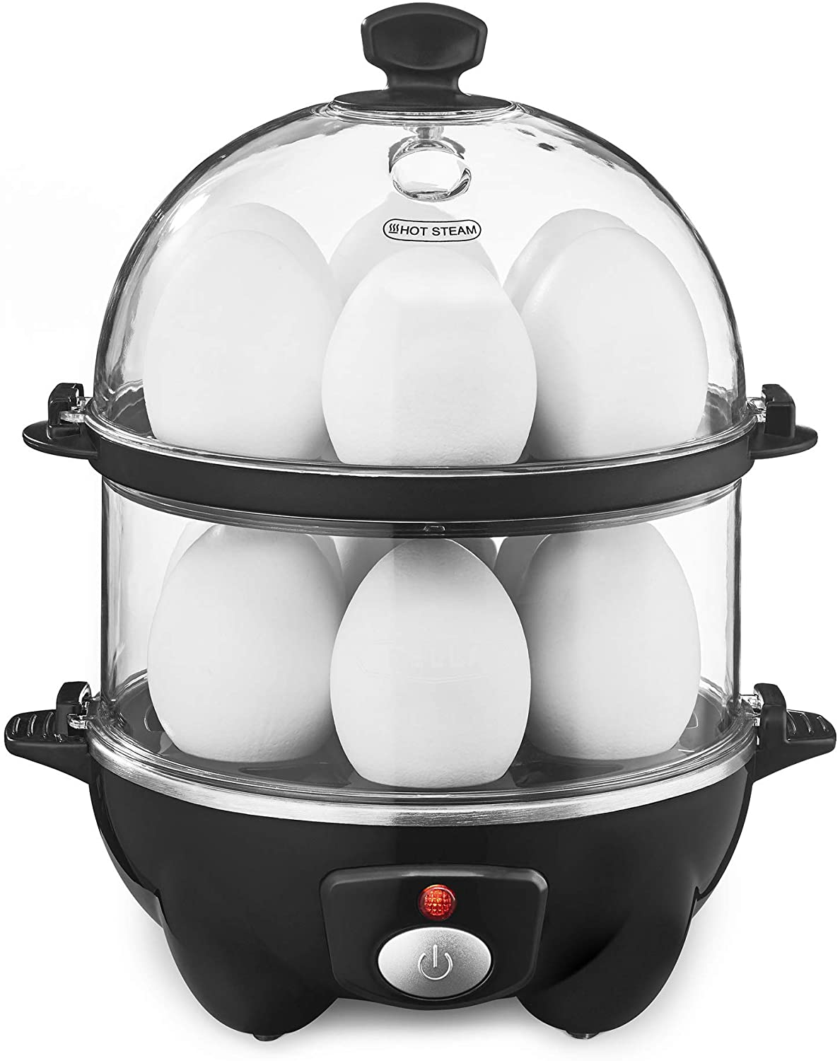 BELLA Double Tier Egg Cooker, Boiler, Rapid Maker & Poacher, Meal Prep for Week, Family Sized Meals: Up To 12 Large Boiled Eggs, Dishwasher Safe, Poaching and Omelet Trays Included, One, Black