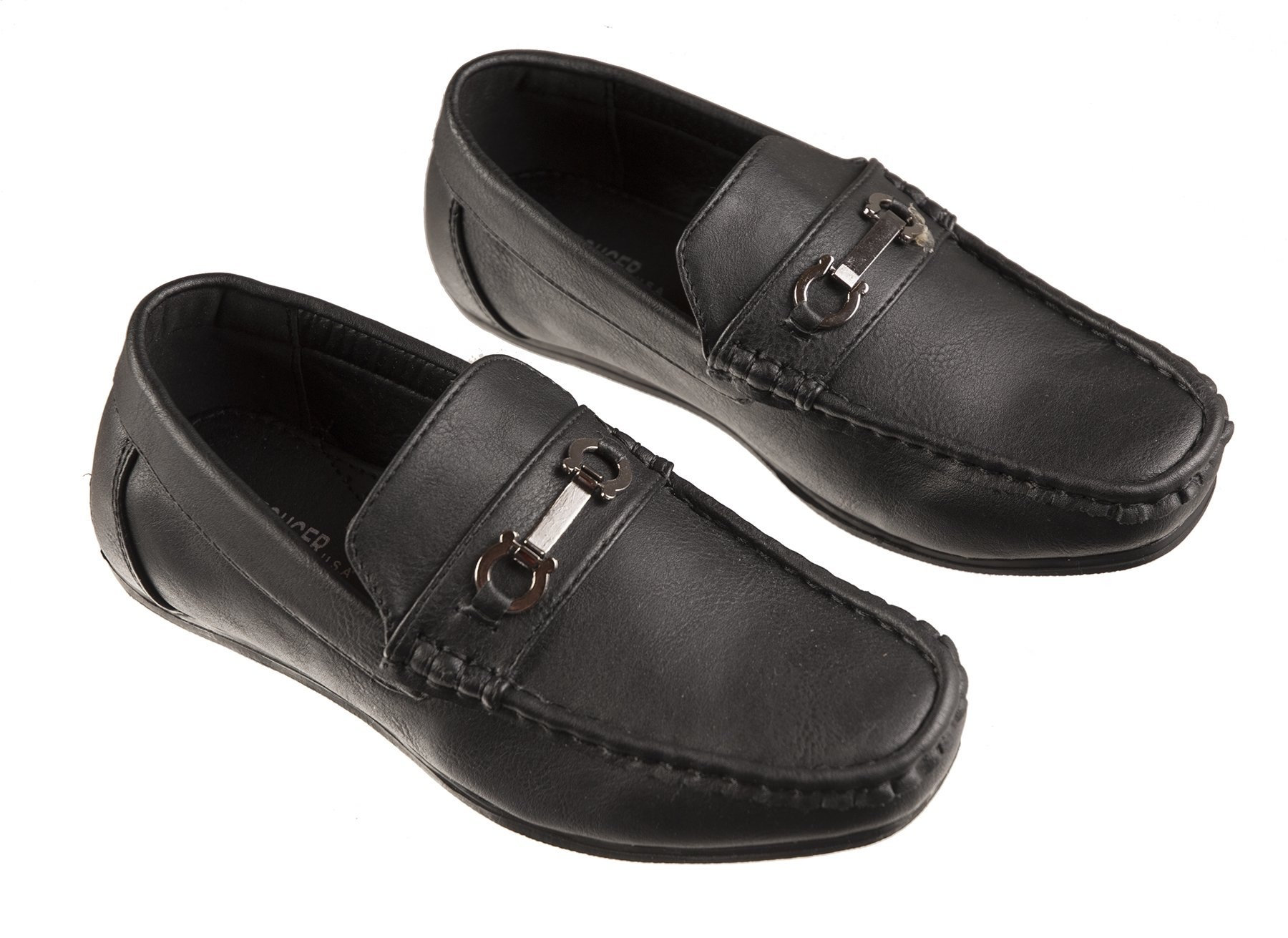 Boys Fashion Loafers Slip on Dress Shoes in White and Black, Sizes Toddlers 6 to Big Boys 8 (Toddlers 7, Black)