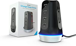 Atomi Charge Tower Prime - USB Desktop Charging Station, 4 Ports with Ai Rapid-Charge Technology, 2 Power Outlets, LED Charging Indicators
