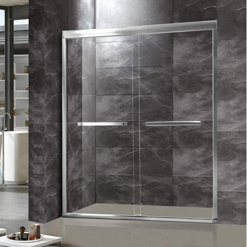 TONYRENA - Puerta de ducha doble corredera, 56 pulgadas a 60 pulgadas de ancho x 72 pulgadas de alto 5/16 pulgadas de vidrio templado transparente, acabado de níquel cepillado: Amazon.es: Bricolaje y herramientas