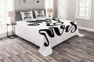 Ambesonne Mr Mrs Bedspread, Hand Drawn Brush Pen Lettering Design Curved and Swirled Lines Monochrome Words, Decorative Quilted 3 Piece Coverlet Set with 2 Pillow Shams, Queen Size, Black Print