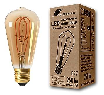 Bombilla de filamento LED greenandco® Vintage E27 ST64 5W (corresponde a 25W) 250lm
