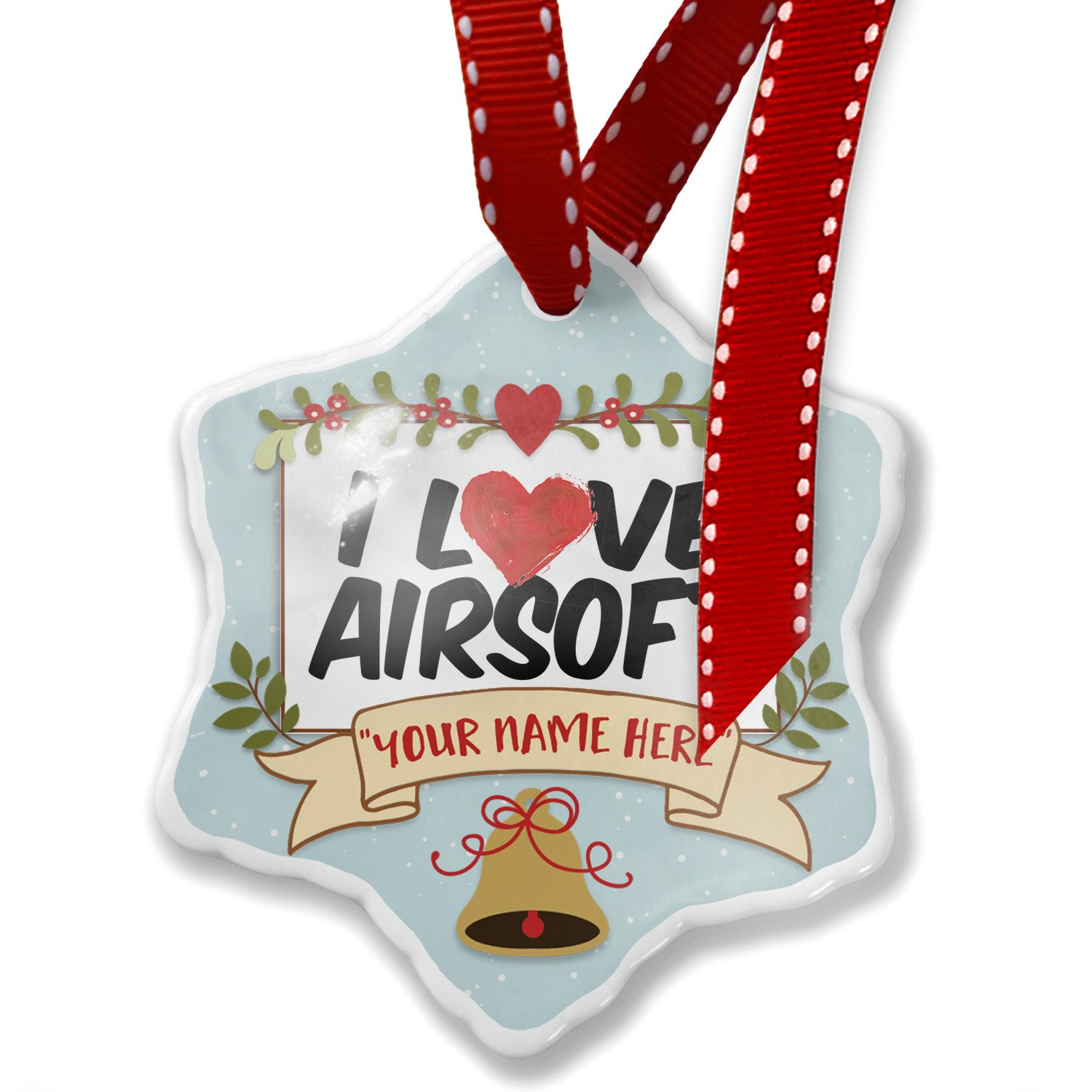 NEONBLOND Add Your Own Custom Name, I Love Airsoft Christmas Ornament ornament-04-110801