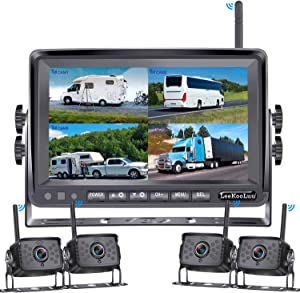 "LeeKooLuu F14 Wireless Digital Backup 4 Cameras 7"" DVR Quad Split Monitor for RVs Trucks Trailers Bus 1080P High-Speed Observation System Rear View Side View Cameras with Grid Lines DIY Setting"