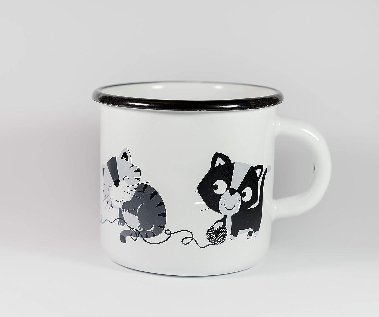 Gatto Tazza Bicchiere con Gattini Felici - vintage - Realizzata in ferro smaltato - bicchiere gatto per bambini, tazza di caffè, tè tazza di caffè tè katelein