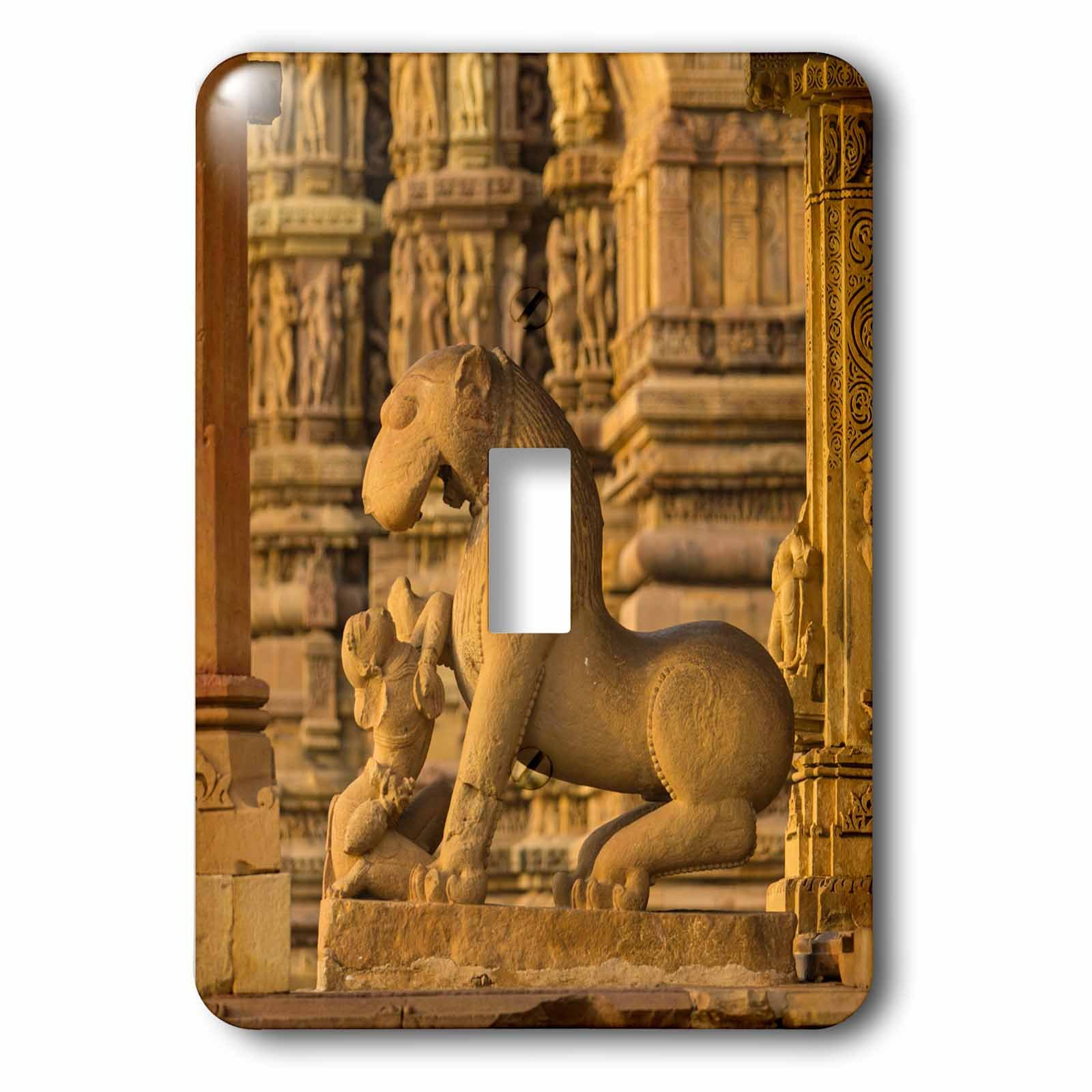 3dRose Danita Delimont - Temples - India. Hindu temples at Khajuraho, Woman with a lion. - Light Switch Covers - single toggle switch (lsp_276794_1)