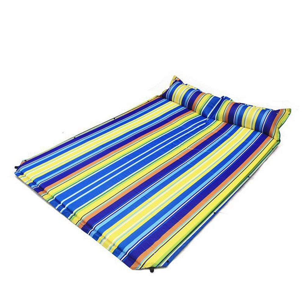 OOFAY Selbstaufblasendes Camping Pad Mit Angehängtem Kissen Feuchtigkeitsfest Komfortabel Für 2 Personen Outdoor Camping Wandern Beach Mat,Sevencolor