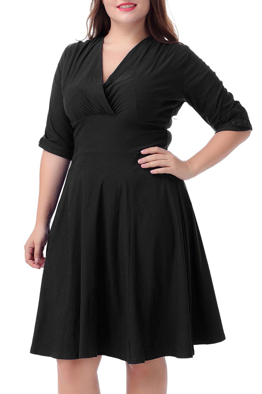 Nemidor Women's Vintage 1950s Style Sleeved Plus Size Swing Dress (14W, Black)