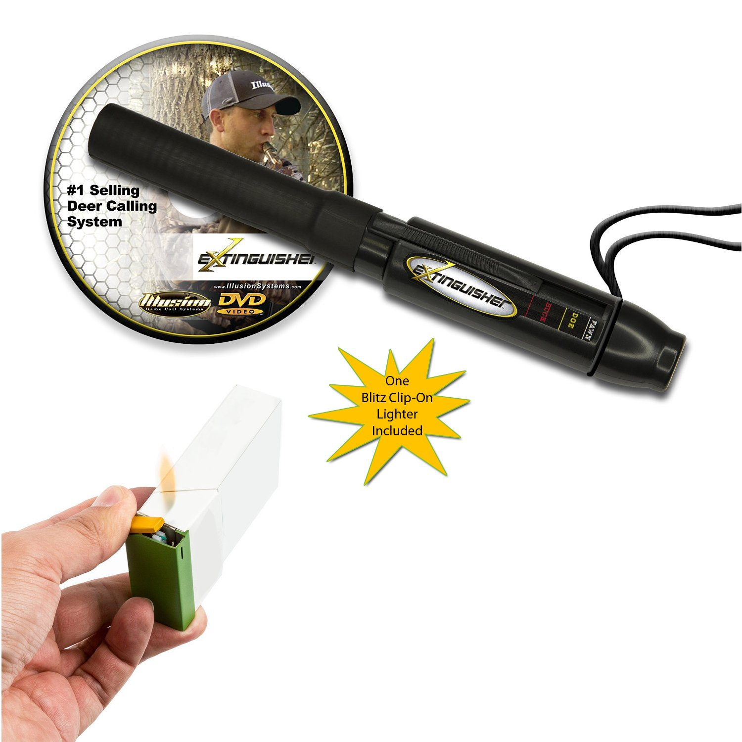 Extinguisher Deer Call (Black) with DVD Instructional + Blitz Clip-On Lighter by Illusion Systems (Image #1)