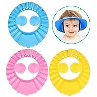 3pcs Gorro Ducha Bebe, PAMIYO 3pcs Ajustable Gorro de Ducha para Bebé Sombrero Champú Evite que el Agua Fluya a Ojos y de la Cara