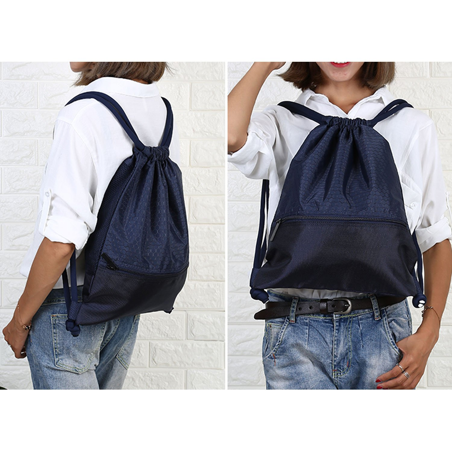 Double Sturdy Drawstring Bag With Pockets Waterproof | For Sports & Workout Gear | Large Capacity String Backpack | 8 Colors (Large, Navy) by Haoguagua (Image #3)